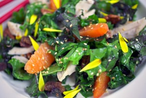 Sesame Citrus Kale Salad with Chicken - Tana Amen