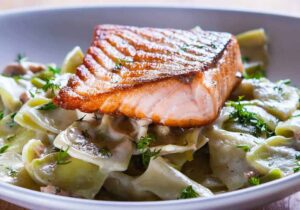 Baked Salmon With Roasted Leeks by Tana Amen BSN RN